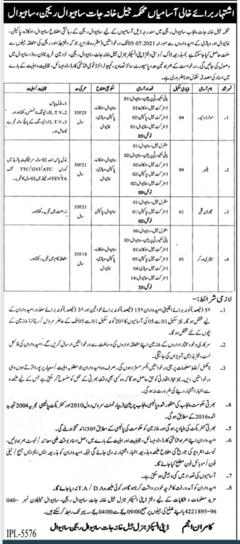 Prison Department Sahiwal Police Jobs