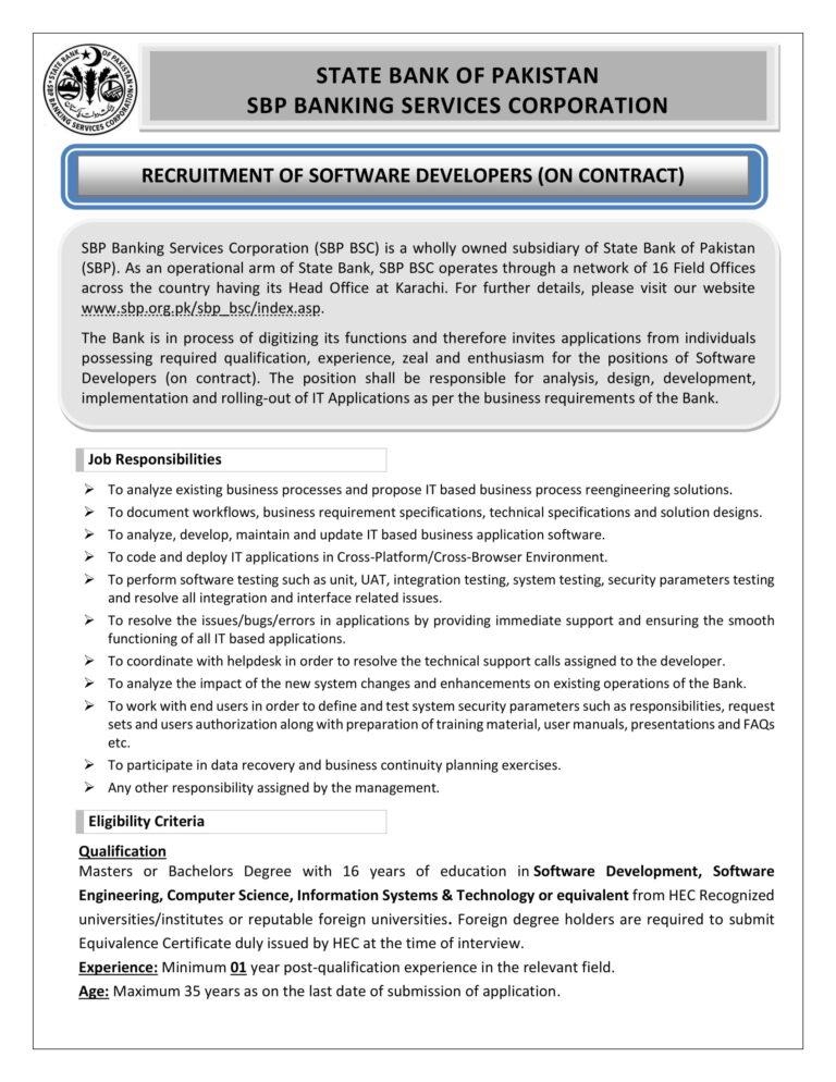 State Bank SBP Software Developers Jobs NTS Answer Keys Result