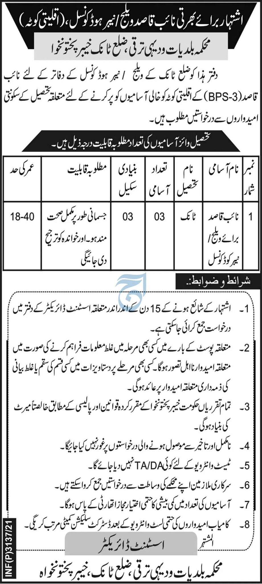 Lower Dir Tank Local Government KPK Govt jobs in Peshawar Today