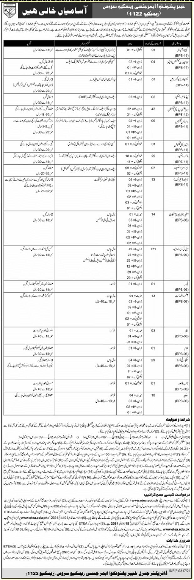 Rescue 1122 KPK Jobs Today Govt jobs in Peshawar today