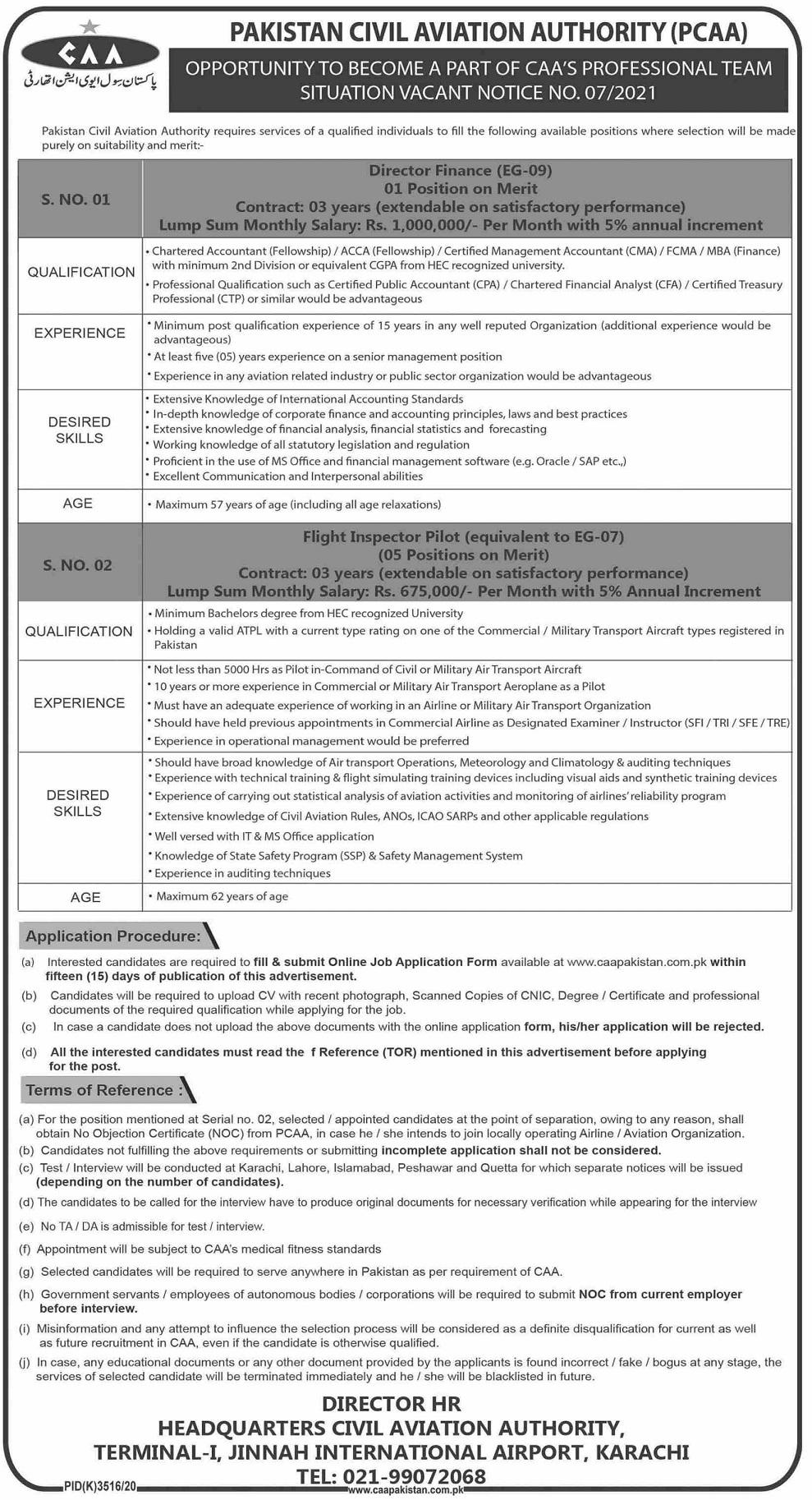 Civil Aviation Authority CAA Jobs Flight Inspector Pilot Patwari Interview Schedule