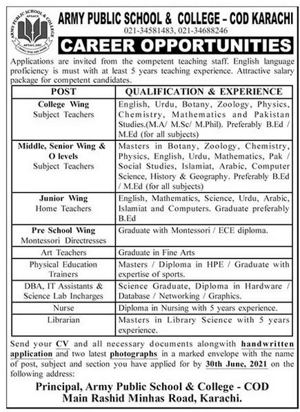 Army Public School and College COD Karachi Jobs Interview Schedule