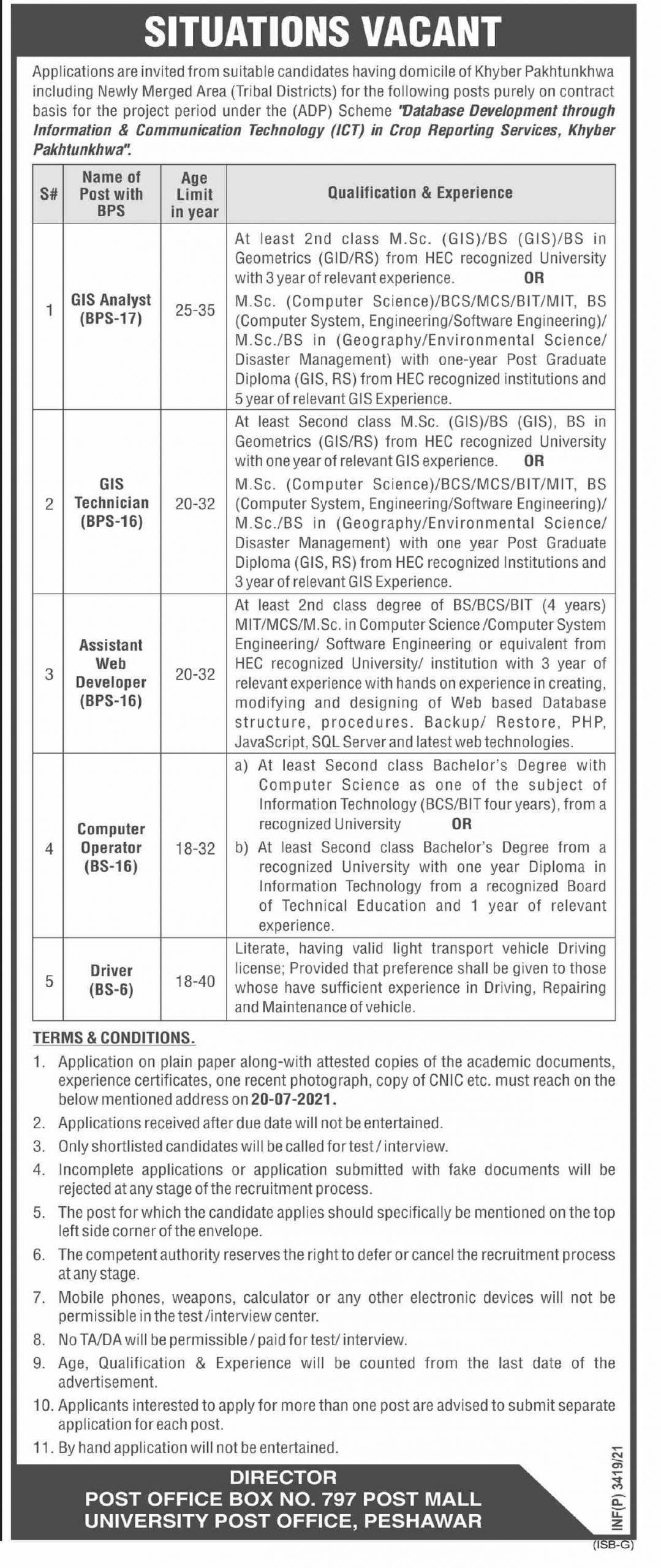 Today KPK Govt Jobs directorate of Crop Reporting Services 2021