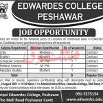 KPK Government Jobs 2021 ASC School Nowshera Edwardes College Peshawar