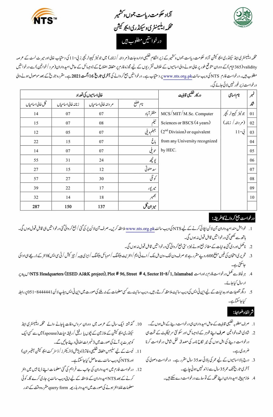 NTS New Jobs In AJK Elementary and Secondary Education Department Azad Jammu & Kasmir