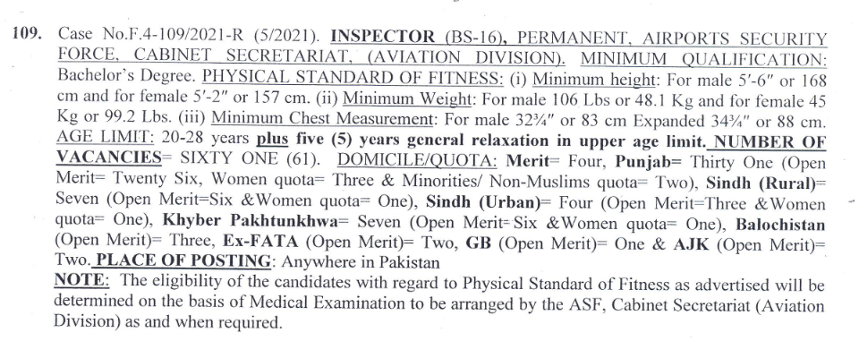 Inspector Airports Security Force ASF Jobs FPSC Roll No Slip