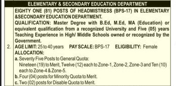 Elementary Secondary Education Headmistress Jobs KPPSC Result