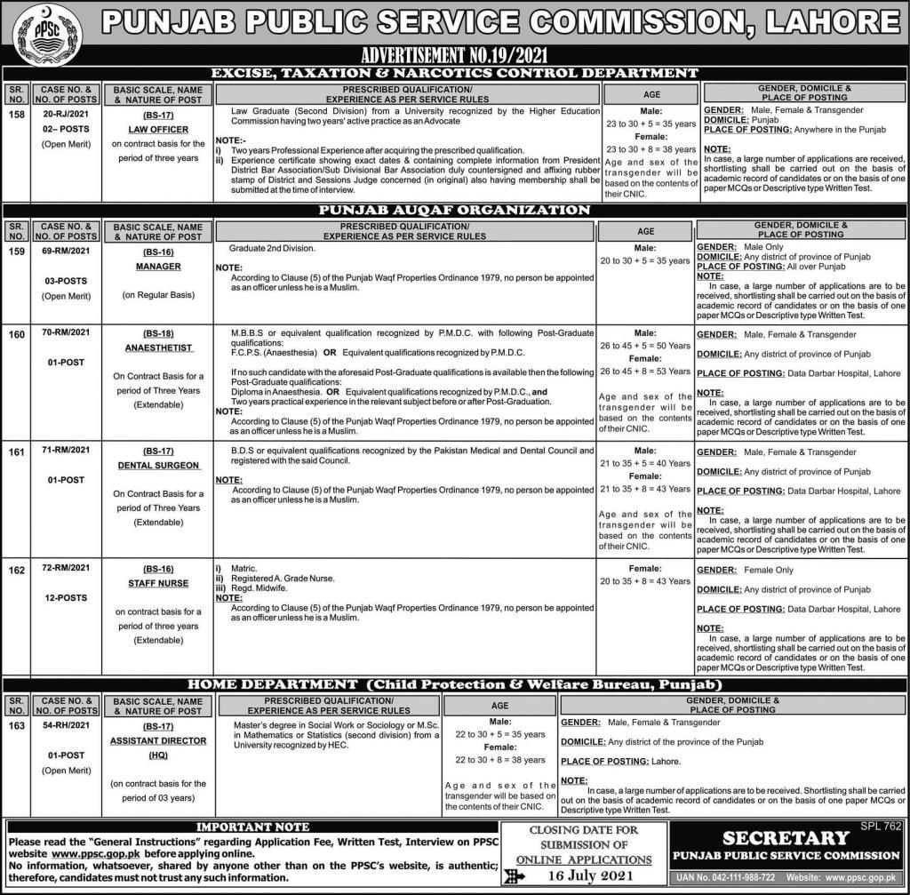 Manager Jobs Punjab Auqaf Organisation PPSC Roll No Slip