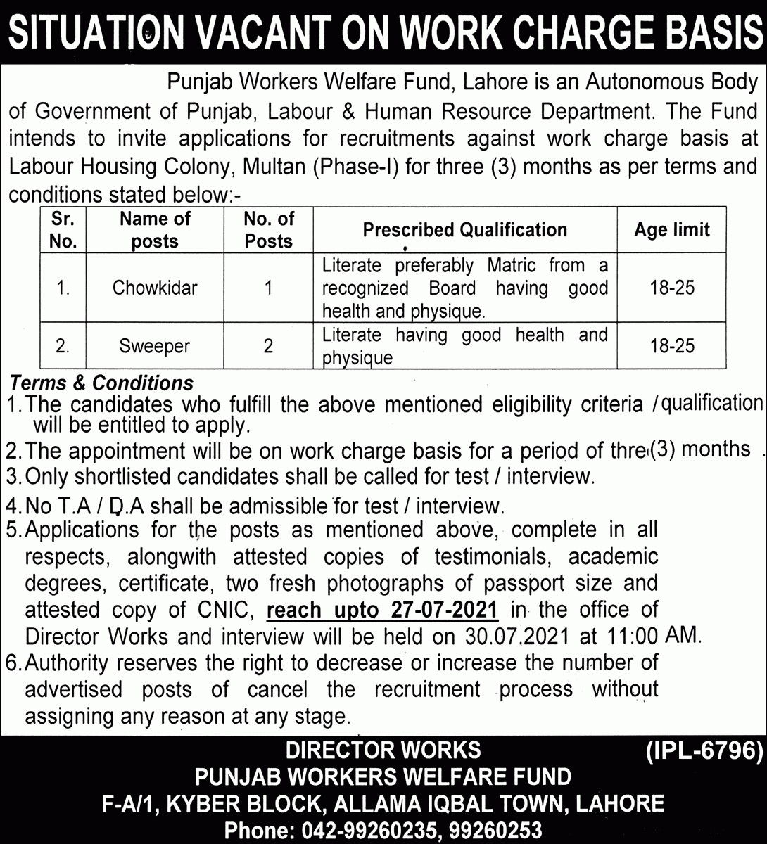 Government jobs in Lahore 2021 Today Punjab Worker Welfare Fund