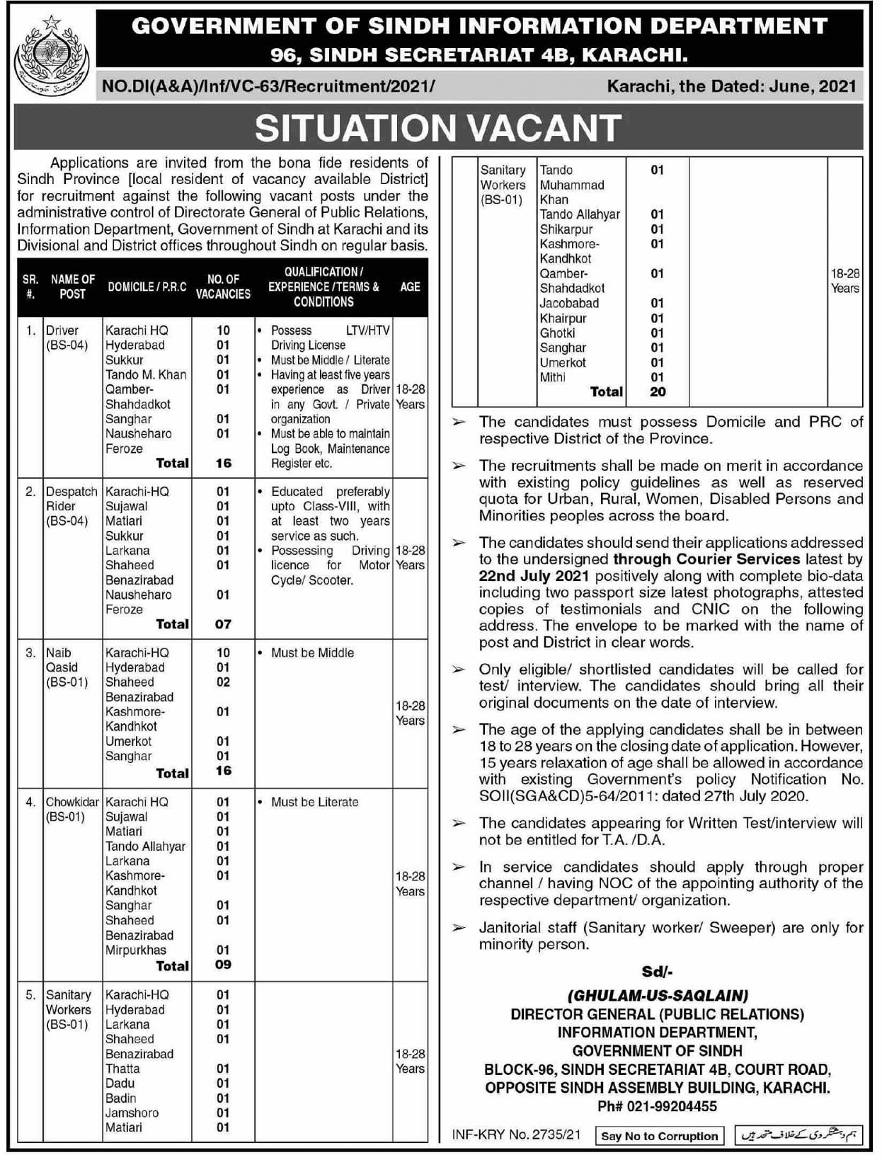 Sindh Information Department Jobs Sindh govt jobs 2021 Today