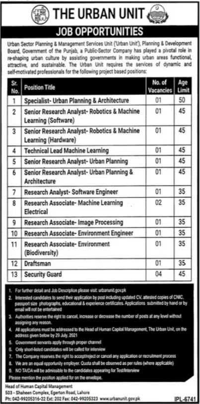 Today Govt of Punjab Jobs July 2021 Urban Unit Lahore