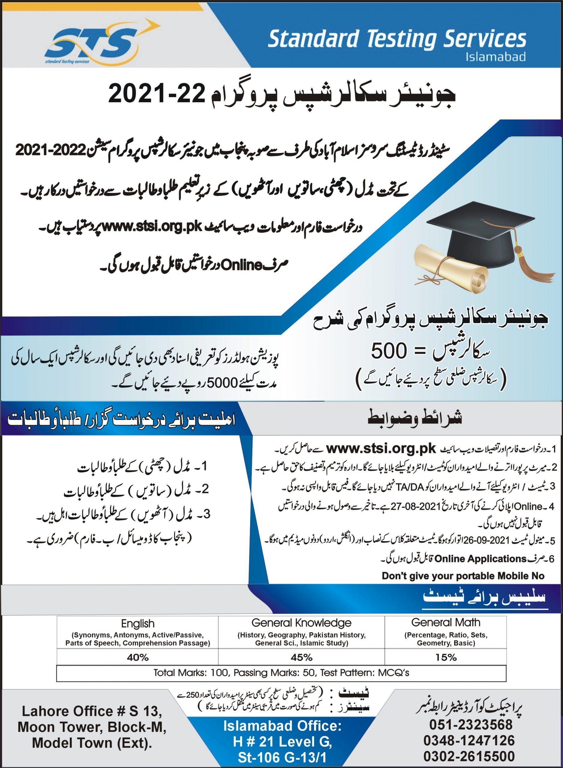 Junior Scholarship Program Phase I Session 2021 2022 STS Roll No Slip