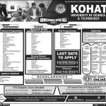KUST 2021 Admissions NTS Result Merit List GAT Subject Kohat University of Science Technology