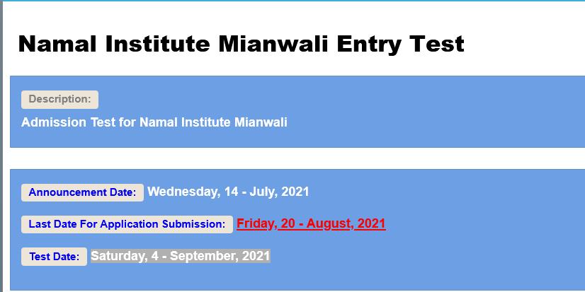 Namal Institute Mianwali Entry Test NTS Roll No Slip