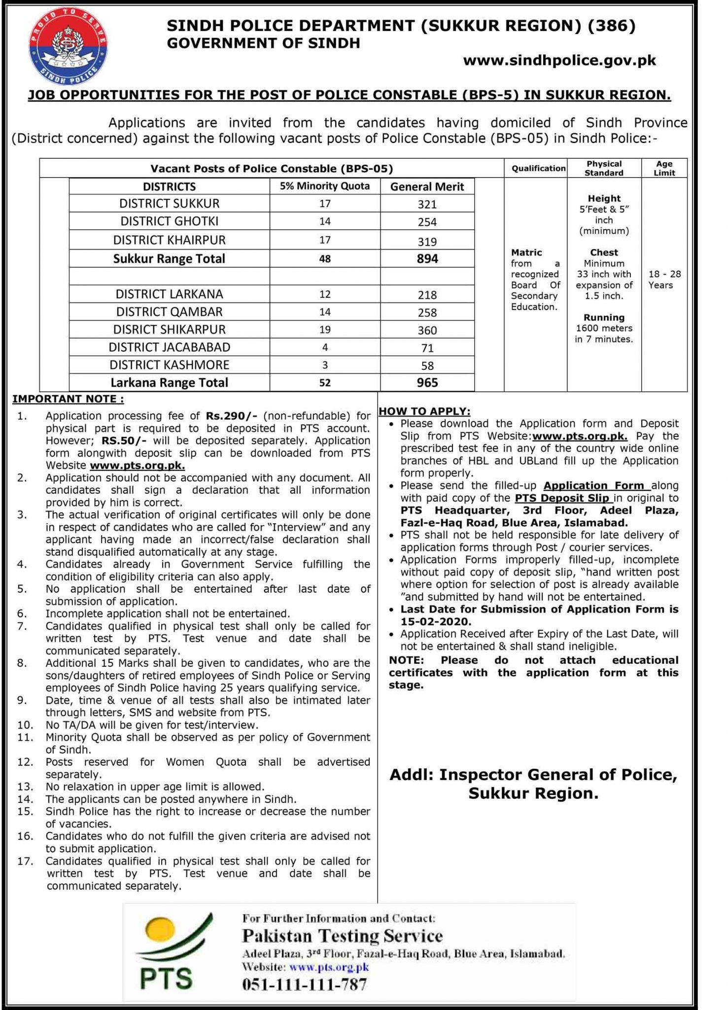 Sindh Police SPD SR IV 386 Jobs PTS Result Police Constable Lady Police Constable Police Constable Driver