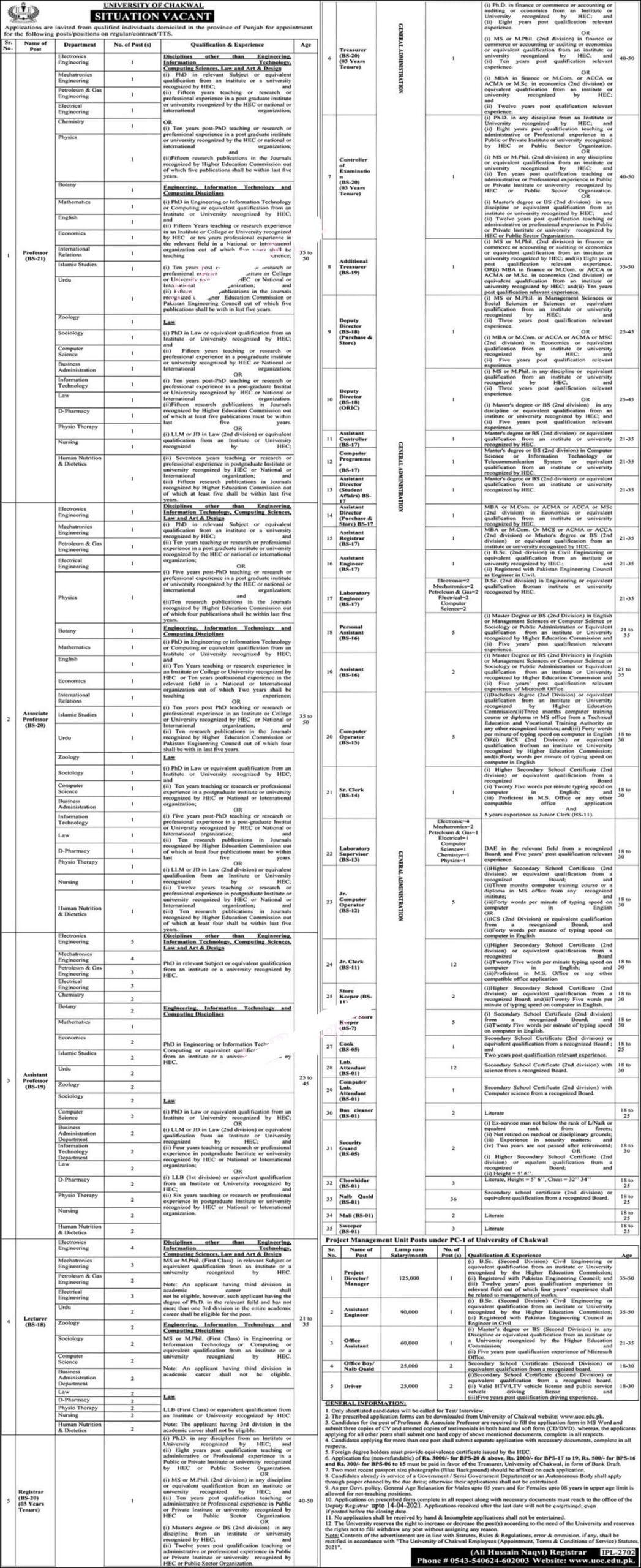 University of Chakwal Jobs ETS Roll No Slip Elite Testing Services