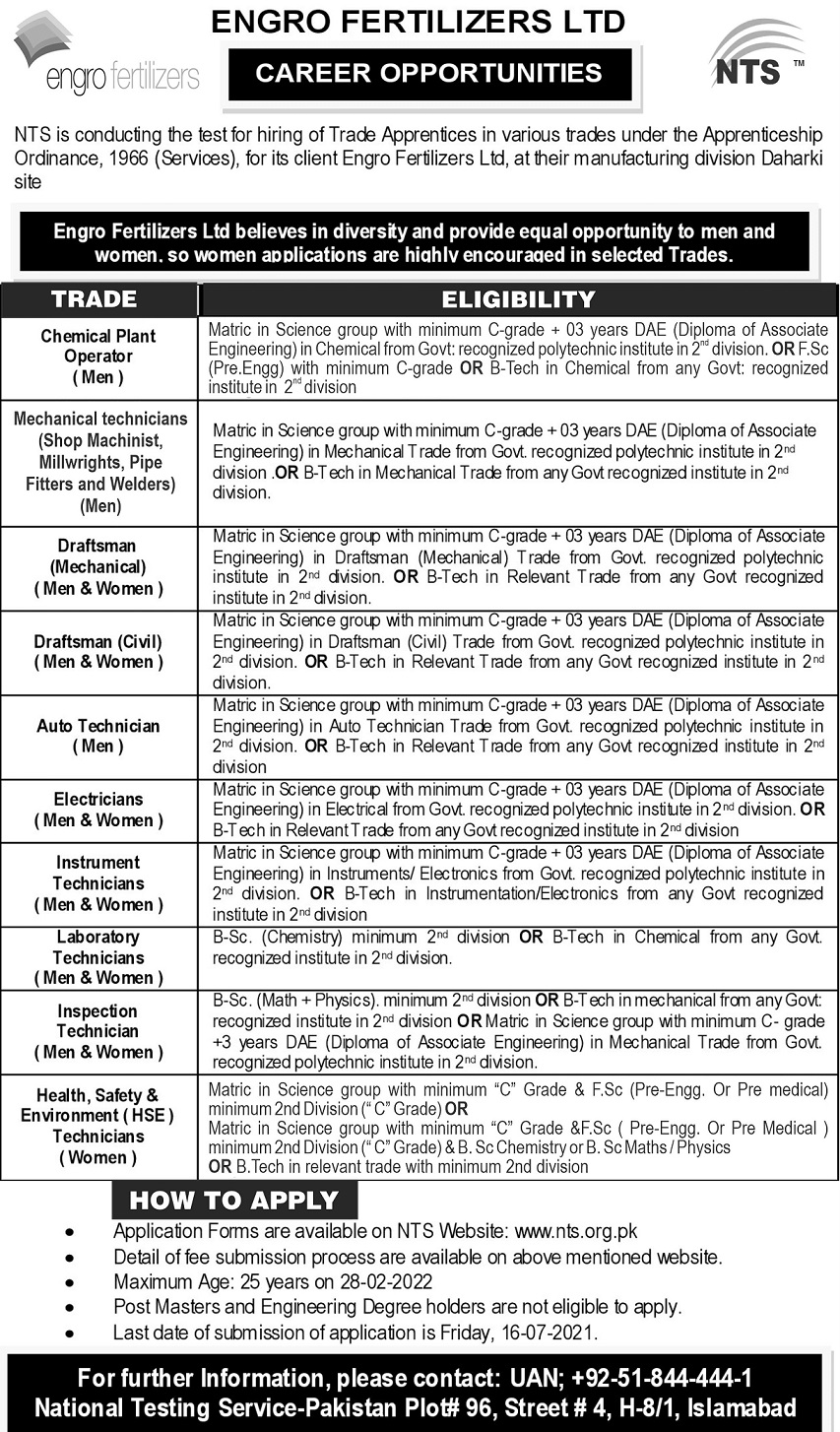 Engro Fertilizers Limited Trade Apprenticeship Jobs NTS Result