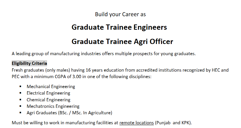 Graduate Trainee Leading Manufacturing Group NTS Result