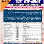 Institute of Southern Punjab ISP Admission MS MPhil MBA NTS Roll No Slip