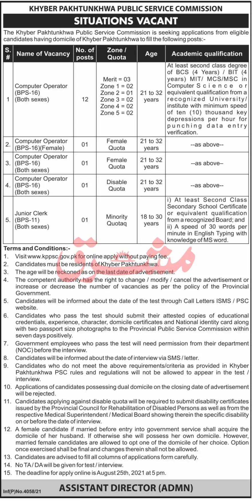 New KPK Govt Jobs At KPK Public Service Commission KPPSC Jobs 2021