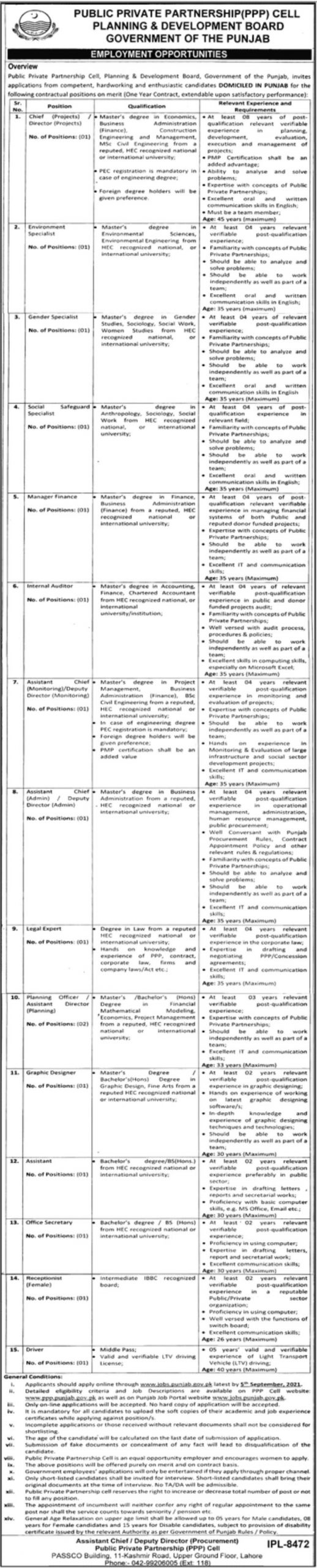 New Govt jobs in Punjab Today At Planning Development Board PPP Punjab Jobs