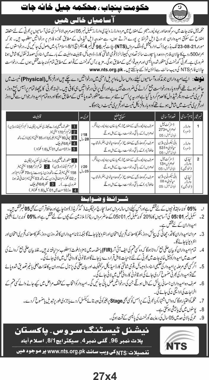 Latest Jobs In National Testing Service NTS 2021 Police Jail Department Punjab