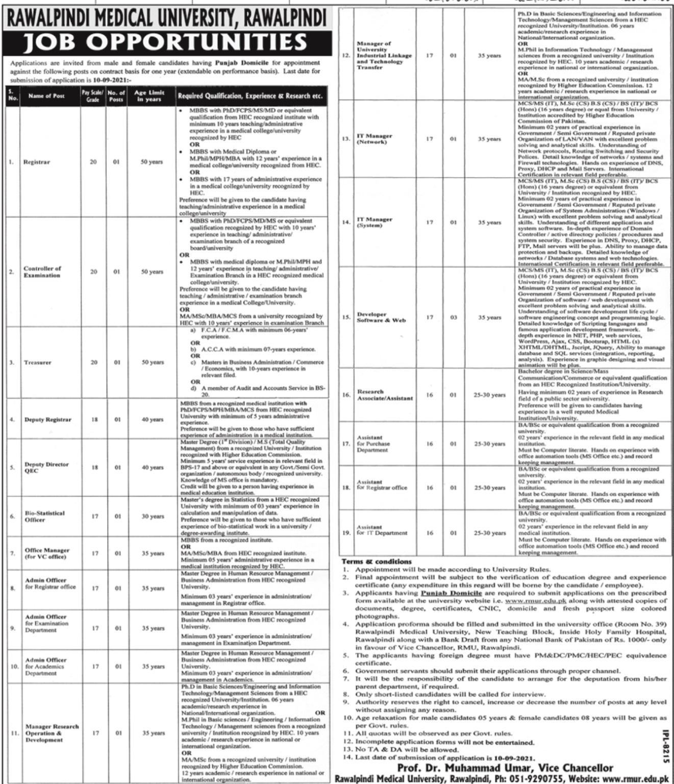 Today Govt Jobs in Punjab 2021 At Rawalpindi Medical University RMU