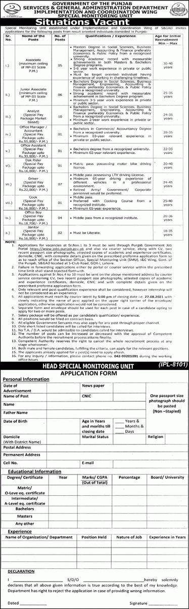 Punjab Govt jobs in Lahore 2021 Matric base At S&GAD Punjab Jobs 2021