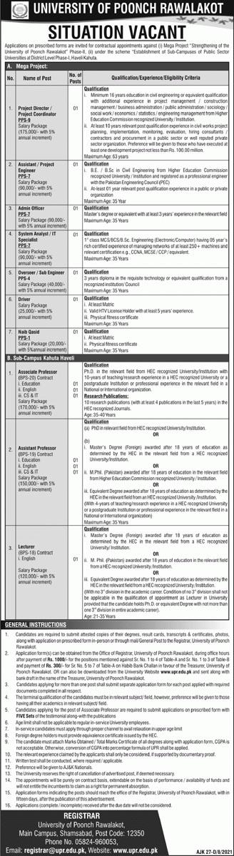 AJK Govt Jobs 2021 At Rawalakot University of Poonch Azad Jammu and Kashmir