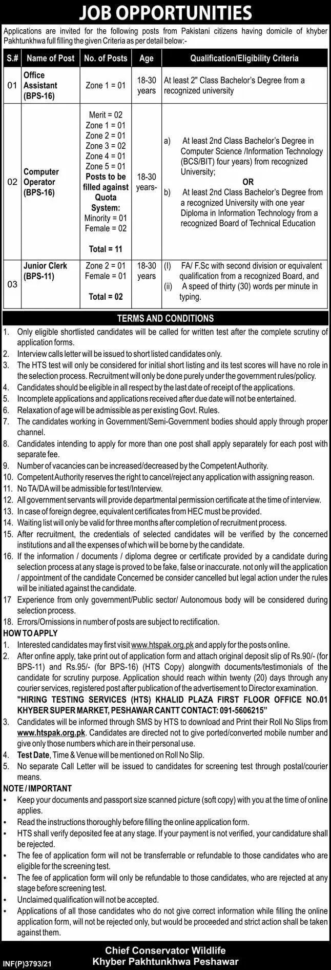 Today Govt of KPK Jobs At Forest and Wildlife Department Peshawar