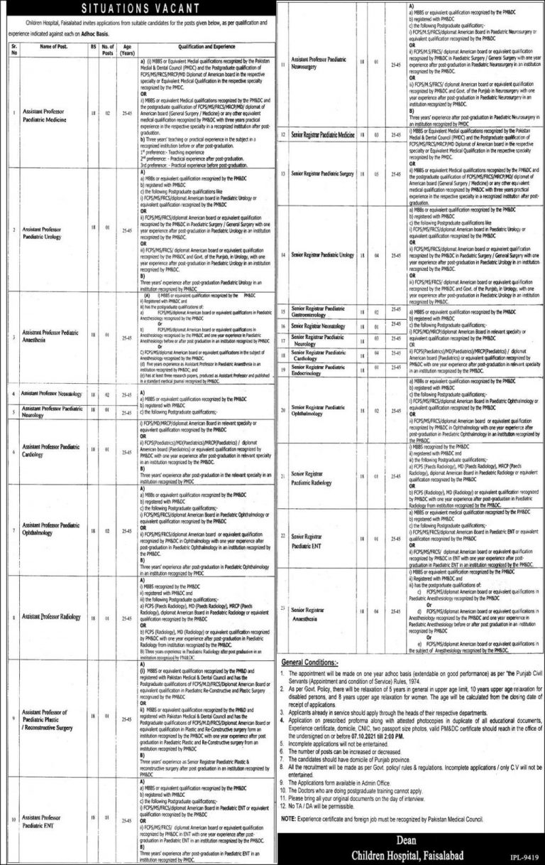 Government Jobs in Faisalabad Today 2021 At Children Hospital Faisalabad