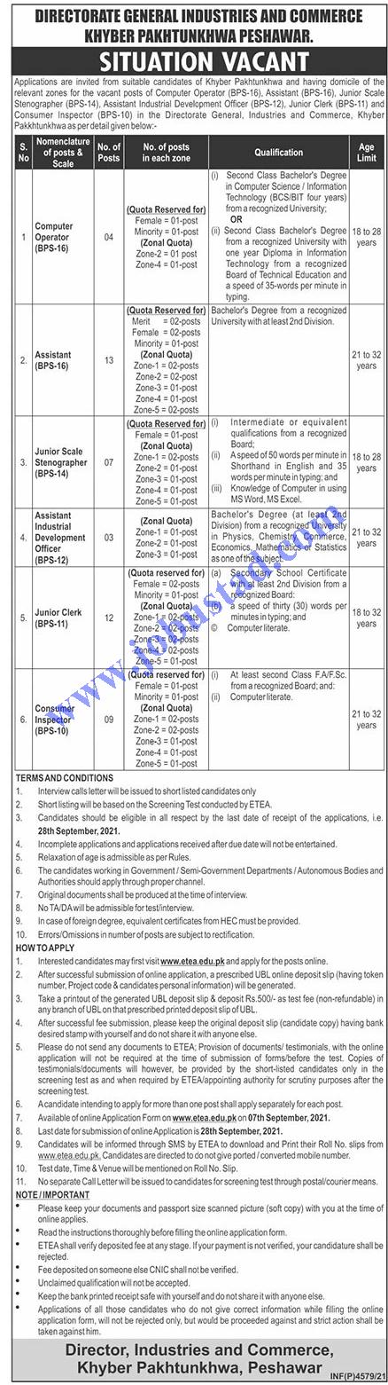 Directorate General of Industries Commerce Jobs ETEA Roll No Slip