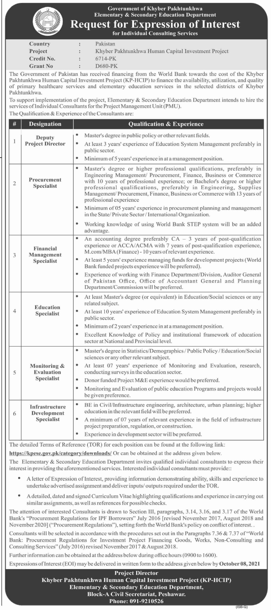 Govt jobs in Peshawar 2021 At KPK Education Department Elementary and Secondary Education