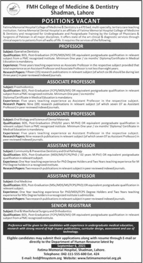 Government Teaching Jobs in Lahore Today At Fatima Memorial Hospital