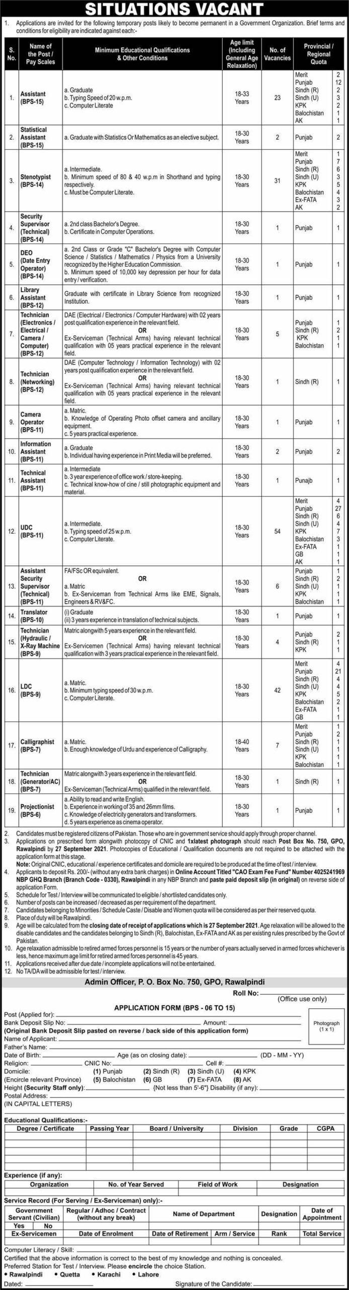 New Govt Jobs in Pakistan 2021 At PO Box No 750 GPO Rawalpindi