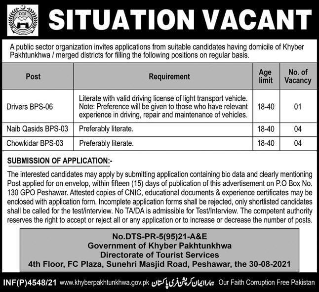 Government Jobs in KPK Today 2021 At KPK Tourism Department