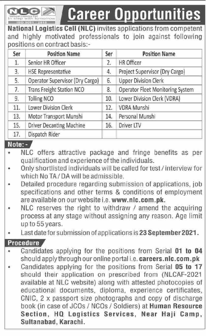 Govt of Sindh Jobs Today 2021 At Sindh Irrigation Department & National Logistics Cell NLC