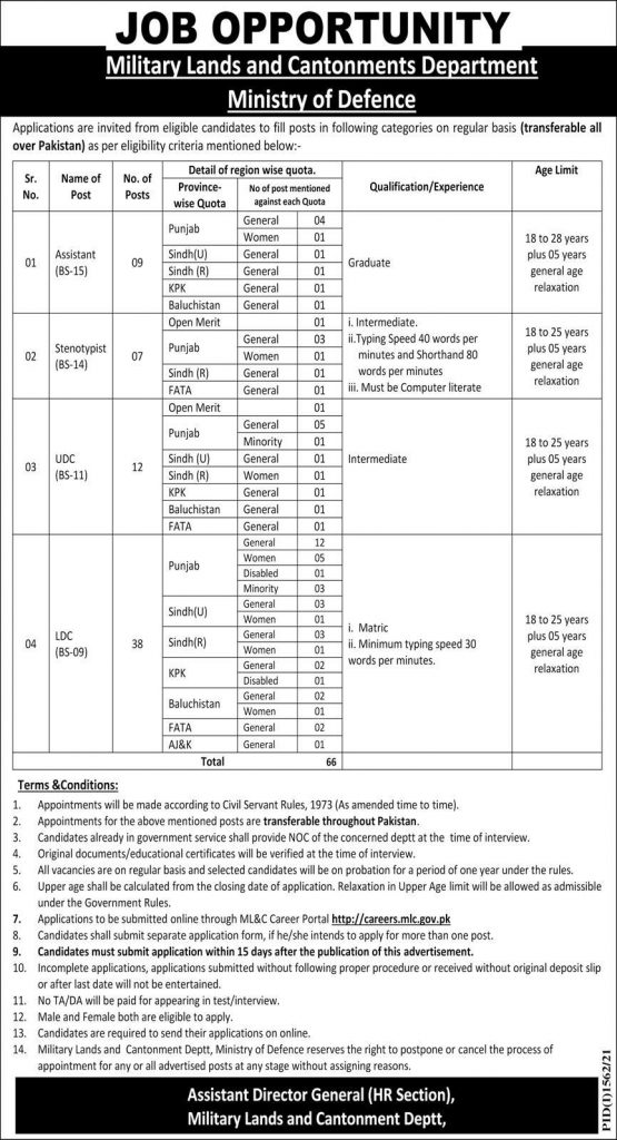 MLC Military Lands and Cantonment Jobs Roll No Slip Test Date Result Interview Schedule Merit List Call Letter Details