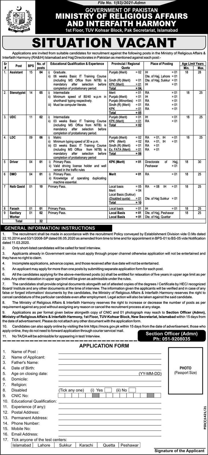 Government jobs in Pakistan 2021 Matric Base Today At MORA Ministry of Religious Affairs and Interfaith Harmony