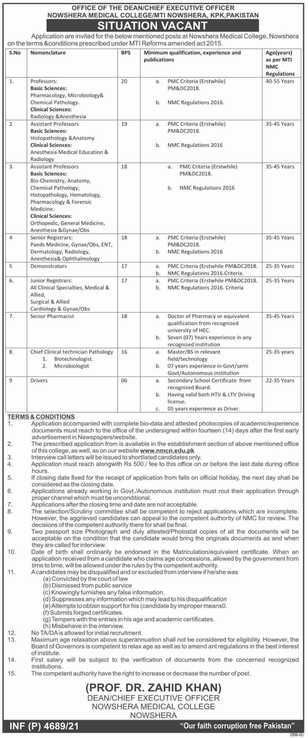 KPK Govt Jobs 2021 At KPK Civil Defence Tevta KPK & Nowshera Medical College