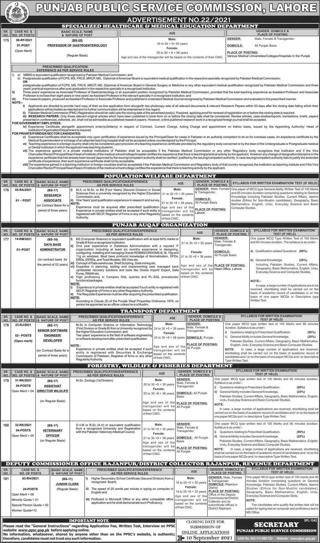 PPSC Jobs Today September 2021 Punjab Public Service Commission