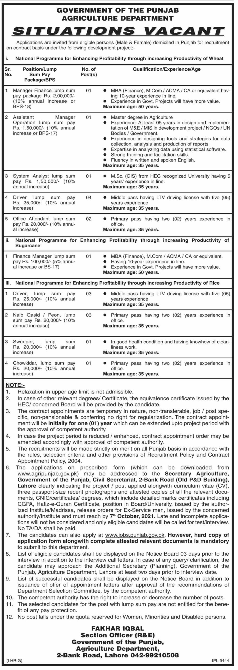 Govt Jobs Punjab 2021 At Punjab Agriculture Department | 21 Posts