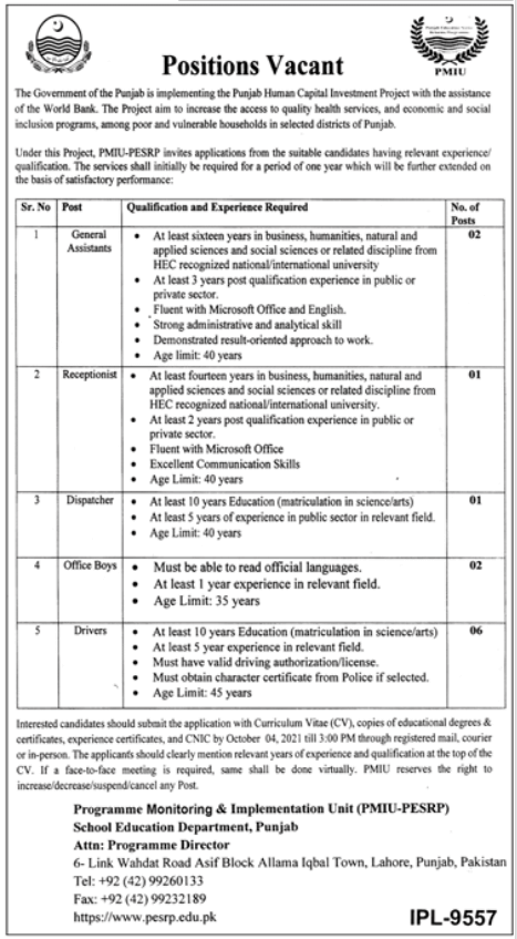 Local Government Punjab jobs 2021 At Human Capital Investment Project, Tourism Department