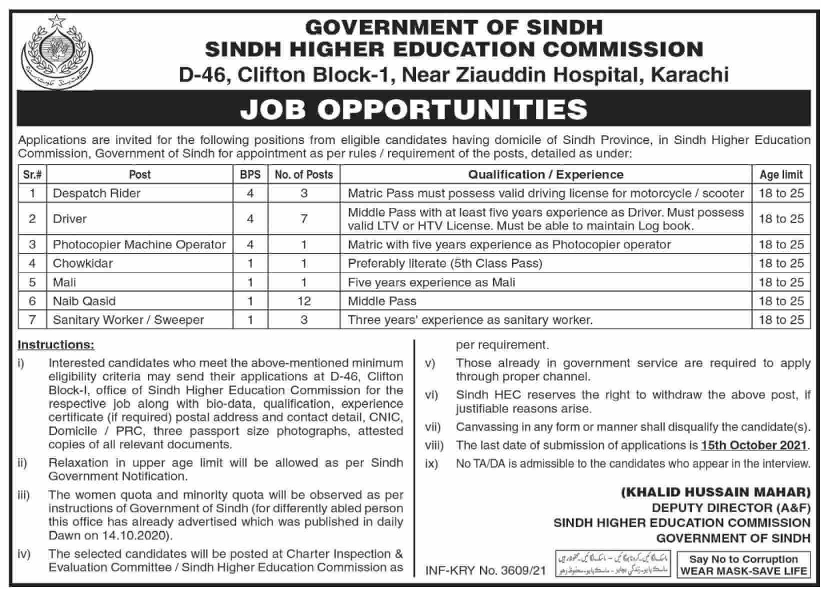 Government Jobs in Karachi 2021 For Matric At Irrigation Department, Sindh Directorate of Sports & Sindh Higher Education Commission