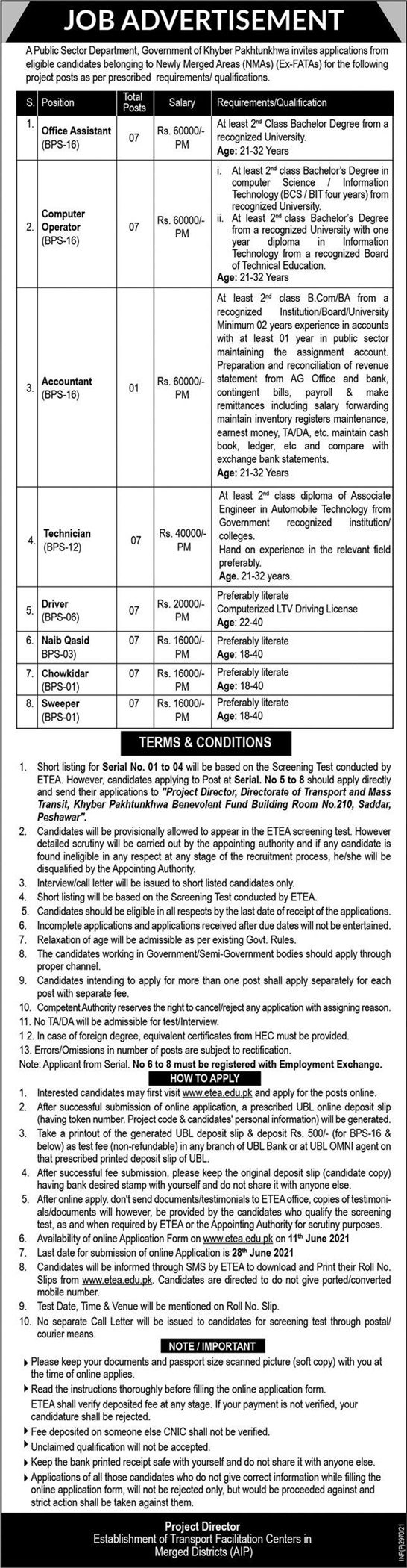 Transport Newly Merged Areas NMAs Jobs ETEA Result Computer Operator Office Assistant