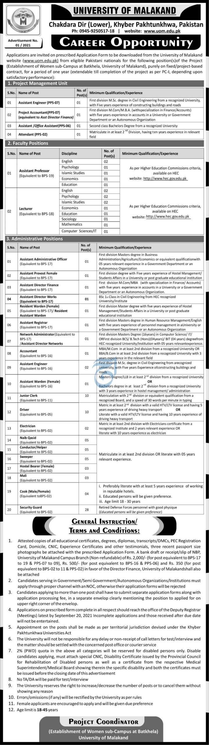 Government Jobs in Pakistan 2021 Matric Base At University of Malakand