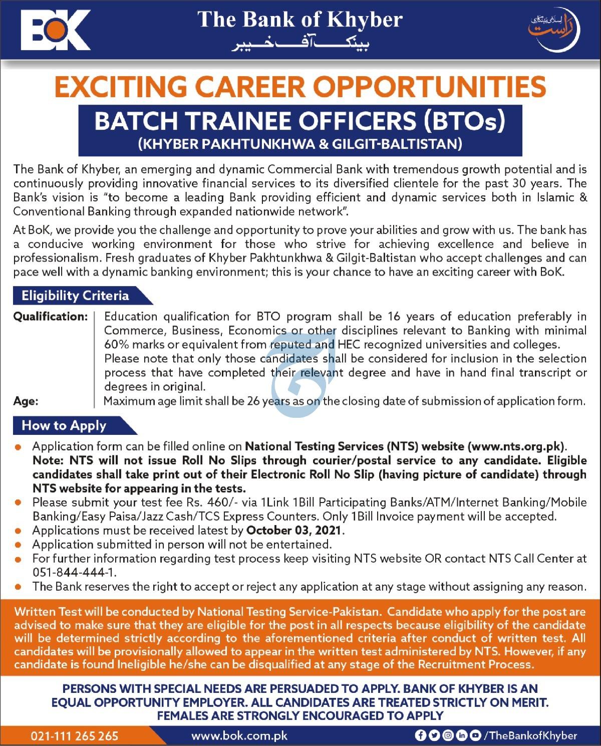 BOK Bank of Khyber Batch Trainee Officers Jobs NTS Roll No Slip