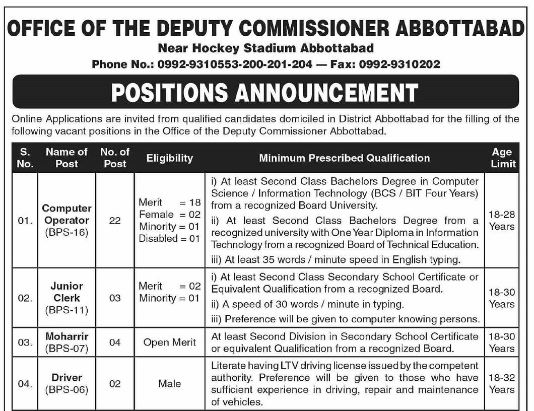 Deputy Commissioner Abbottabad Office Jobs 2021 ETEA Roll No Slip