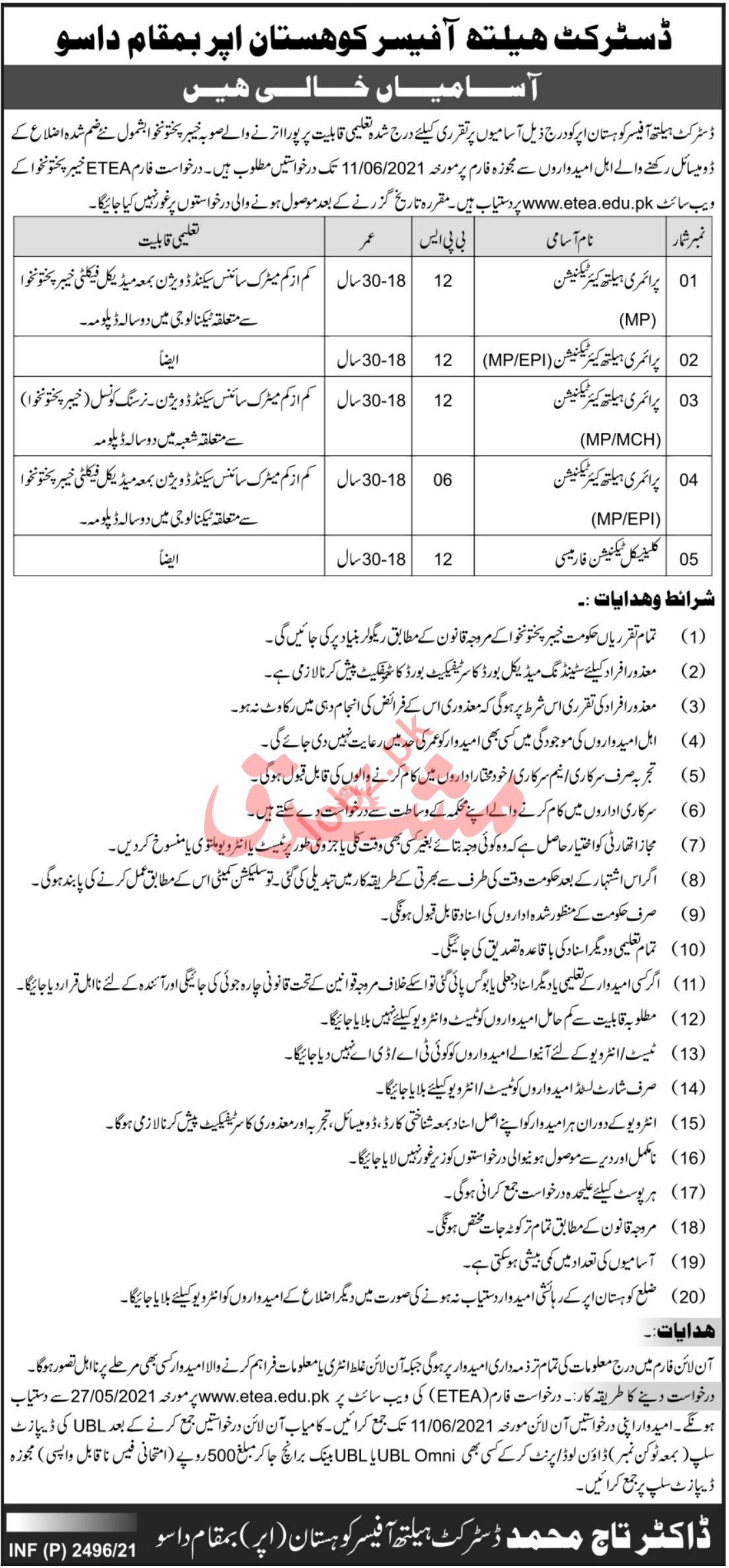 DHO Kohistan Upper DHO Dir Upper Jobs ETEA Result 4 September 2021 District Health Office