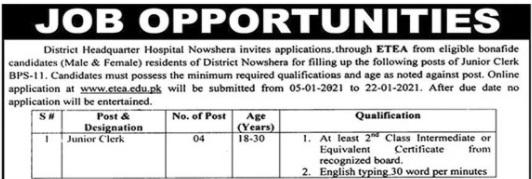 DHQ Nowshera Junior Clerk Jobs ETEA Result
